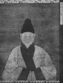 Portrait de la dame Lien. Anonyme. Dynastie Song, XIIIe siècle. La dame âgée s'est retirée du monde. Elle a rasé ses cheveux ; elle porte un bonnet noir et une robe blanche à large bordure brun-violet.
