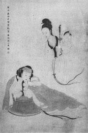Servante apportant une chandelle à sa maîtresse. Par Yu Tche-ting (florissait vers 1650-1720). Lavis légèrement colorié. Charmant échantillon de la peinture de genre du XVIIIe siècle. Yu Tche-ting était célèbre pour ses portraits et ses fleurs.