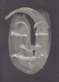 """""""Cara feliz 002"""" 18,2x13,2cm Gesso, Dispersionsfarbe auf Fotokarton. 2013"""