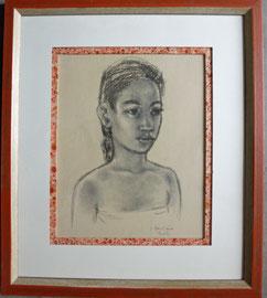 Encadrement d'un portrait de Tahiti avce sous carte papier marbré