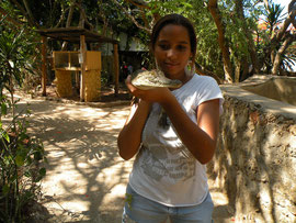 Sabina with baby crocodile