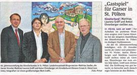 Matthias Stadler, Matthias Laurenz Gräff und Anton Ehrenberger. Pressebericht in der NÖN Horn (Woche 48) Copyright by Martin Kalchhauser