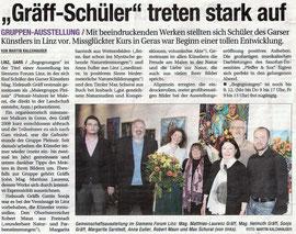 Matthias Laurenz Gräff. Siemens Zentrale Linz, Ausstellungsbericht in der NÖN Horn, Copyright by Martin Kalchhauser