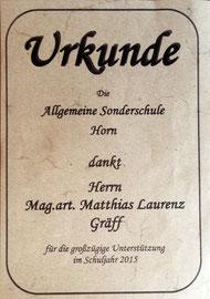 Urkunde für Matthias Laurenz Gräff