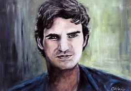 Roger Federer, Acryl, 42x32