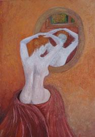 Frau im Spiegel, Acryl auf Papier, 42x30
