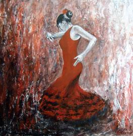 Flamenco dancer, Acryl auf Palmenholz, 60x60