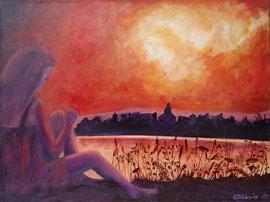 Sonnenuntergang am See, Acryl auf Leinwand, 30x 40 - Verkauft