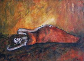 Daydreaming, Aquarell und Acryl auf Papier, 30x42