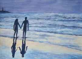 Spaziergang am Meer, Acryl auf Papier, 35.40