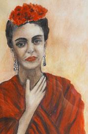 Frida Kahlo, Acry auf Leinwand, 40x30