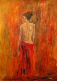 Venus in rot, Acryl auf Papier, 60x42