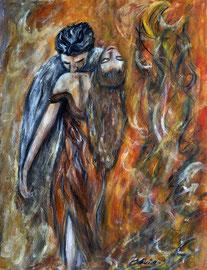 Der Kuss, Aquarell und Acryl auf Papier, 43x32