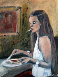 Frühstück, Acryl, 42x32
