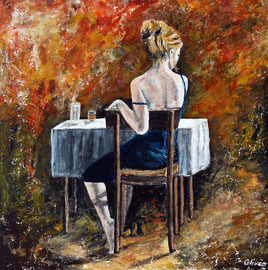 Lara, Acryl auf Palmholz, 60 x 60 - verkauft