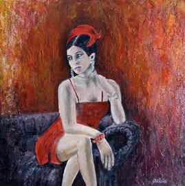 Mona, Acryl auf Palmenholz, 60x60