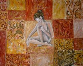 Griechische Göttin, Acryl und Gips auf Leinwand, 40x50