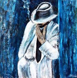 Blue Smoke 2, Acryl auf Palmenholz, 60x60