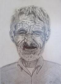 Mallorquinischer Fischer, Bleistift auf Papier, 30x22
