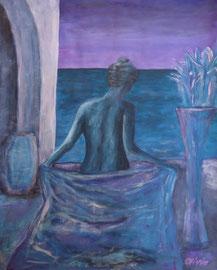 Woman in the moonlight, Acryl auf Papier, 52x42