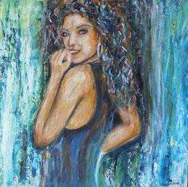 Lisa's smile, Acryl auf Palmenholz, 60x60 - verkauft