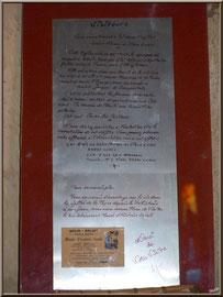 Eglise St Michel du Vieux Lugo à Lugos (Gironde) : affiche à l'entrée de l'église