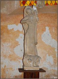 Eglise St Michel du Vieux Lugo à Lugos (Gironde) : la statue de Saint Michel Archange