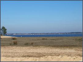 Bord de plage, prés salés à Claouey et le Bassin d'Arcachon