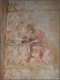 Eglise St Michel du Vieux Lugo à Lugos (Gironde) : fresque murale homme ou animal ?