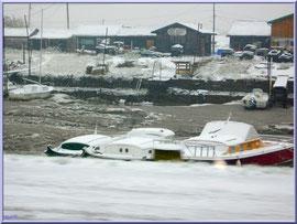 Le port ostréicole de La Teste de Buch sous la neige en décembre 2010 (Bassin d'Arcachon)