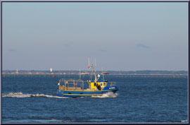 """Vedette de pêche sur le Bassin avec en fond les cabanes tchanquées de l'Ile aux Oiseaux, vue depuis le front de mer de la """"Ville d'Eté"""" à Arcachon"""