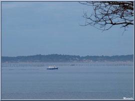 """Bâteau rentrant de la pêche, vue depuis le front de mer de Péreire en """"Ville de Printemps"""" à Arcachon"""