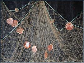 Filet de pêche aux coquilles St Jacques sur le mur d'une cabane au port ostréicole de La Teste de Buch (Bassin d'Arcachon)