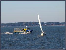 """Vedette de pêche et voilier sur le Bassin, vue depuis le front de mer de la """"Ville d'Eté"""" à Arcachon"""