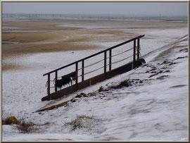 Jetée du Christ, escalier vers plage en habit neigeux