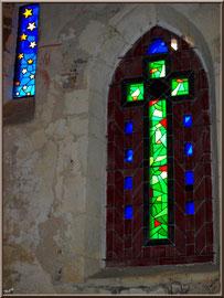 Eglise St Michel du Vieux Lugo à Lugos (Gironde) : vitraux côté Sud
