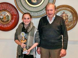 Natalie Brönauer und Sepp Huber, der seit vielen Jahren den Jugendpokal stiftet