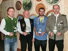 Vereinsmeister 2015 von links: LG Werner Grundei, LG-Auflageschützen Sepp Scheidl, LP Michael Bolek und LP-Auflage Hermann Raab