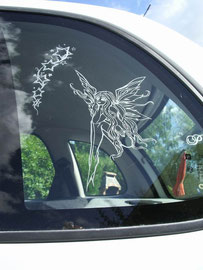 """vitre de voiture de ma fille """"un elfe avec des étoiles"""""""