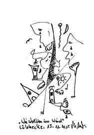 """""""Wie Wolken im Wind"""" Tuschezeichnung. Originalgrafik auf Papier. B 12,0 cm * H 17,0 cm. Lübbecke, 15.11.2015. Werkverzeichnis 4204."""