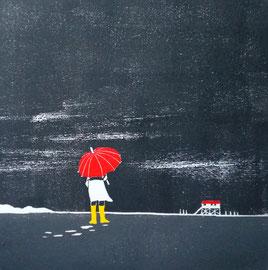 Roter Schirm  (30x30)