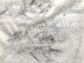Sociogram: (Detail) VXQR+X9 Washington D.C. Ink-, pencil-, acrylic, ballpoint drawing, on tracingpaper, pinned on foam. 29,7 cm x 42 cm Faisel Saro 2021.