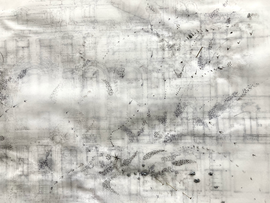 Sociogram: (Detail) 9V36+PJ Amsterdam  Ink-, pencil-, acrylic, ballpoint drawing, on tracingpaper, pinned on foam. 29,7 cm x 42 cm Faisel Saro 2021.