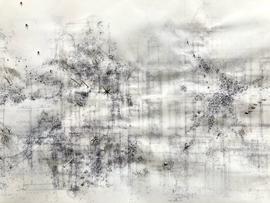 Sociogram: (Detail) 9F469V8M+G7 Amsterdam  Ink-, pencil-, acrylic, ballpoint drawing, on tracingpaper, pinned on foam. 29,7 cm x 42 cm Faisel Saro 2021.