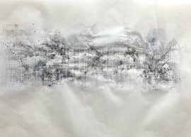 Sociogram: 9F469V8M+G7 Amsterdam  Ink-, pencil-, acrylic, ballpoint drawing, on tracingpaper, pinned on foam. 29,7 cm x 42 cm Faisel Saro 2021.