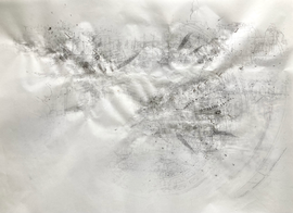 Sociogram: VXQR+X9 Washington D.C. Ink-, pencil-, acrylic, ballpoint drawing, on tracingpaper, pinned on foam. 29,7 cm x 42 cm Faisel Saro 2021.