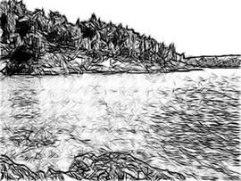 Seeufer Kohlezeichnung