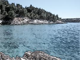 Seeufer farbige Kohle
