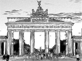 Brandenburger Tor schwarzweiß Skizze