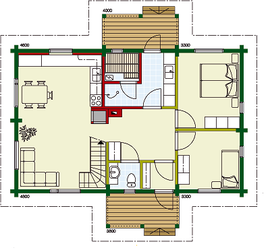 Kuusamo Holzhaus in Blockbauweise - EG - Hausplanung - Hauskauf - Haus planen und kaufen